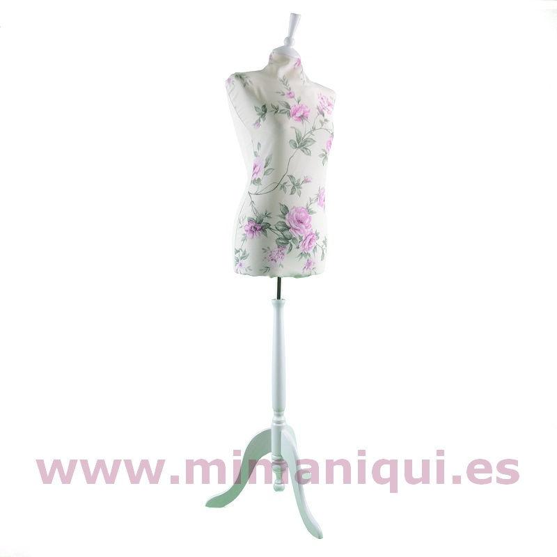 Busto vintage estampado verde-fucsia blanco